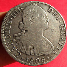 1808 CHARLES IV SILVER COIN PIRATE TREASURE COBS COLONIAL MEXICO MINT 8 REALES