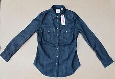 NEW-Levis Womens Classic Western Tailored Black Denim Shirt- SMALL