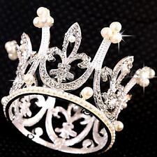 Mini Circle Round Pearl Crown Kid Bridal Princess Rhinestone Wedding Tiara Crown