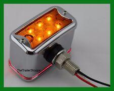 Rectangular Pedestal Fender Light Chrome Die Cast 12 LED Amber Red Lens