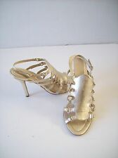 LAMB Gold Leather Heels Strappy Sandals Slingbacks sz 10 Euro 40 Gwen Steffani
