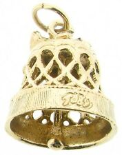 9Carat 9ct yellow gold charms wedding bell church ringing gong filigree bow bell