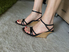 Sexy Heel platform Wedge wood Steve Madden Strappy Vintage Mod 7 toes open used