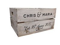 Personalised  Rustic Wooden Half Crate for Weddings (Vintage Style) White Stain