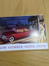 Humber Super Snipe Small Fold Out Sales Brochure Ref 687/H September 1959