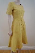 HERMES PARIS Mustard Yellow Linen / Silk Flared Skirt Casual Dress Sz36; UK8