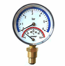 80 mm Thermomanometer Temperature and Pressure Gauge up to 120 C & 6 Bar BSP