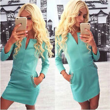 Women Ladies Long Sleeve Bodycon Bandage Dress Evening Club Party Dress Green XL