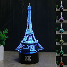 Eiffel Tower 3D LED illusion Night Light Touch Switch Table Desk Lamp 7 Color