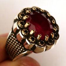 Turkish 925 S. Silver Garnet (lab) Stone Men's Ring Sz 9.5 us #0191 free resize