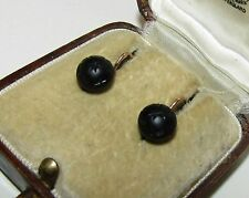 FINE, VICTORIAN, 18 CT GOLD MOURNING DORMEUSES EARRINGS WITH WHITBY JET