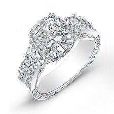 3.62 Ct. Cushion Cut, Half Moon & Round Diamond Engagement Ring 18K H,VVS2 GIA