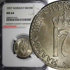 Norway Haakon VII 1957 Krone  LAST DATE FOR THE TYPE NGC MS64 KM# 397.2
