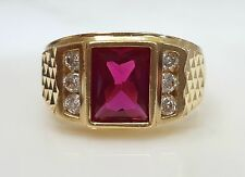 Men's Color Band 14k Yellow Gold Simulated Ruby & CZ Mens Ring