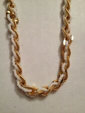 """TRIFARI GOLDTONE/SMALL WHITE BEADS 23""""NECKLACE(a100)"""