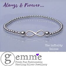 Sterling Silver Infinity Connector Stacking Charm Bracelet