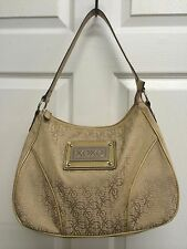 Women's Large XOXO Brown Canvas Patent Leather Handbag Purse Shoulder Bag