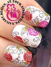 NAIL ART WRAP WATER TRANSFER DECALS RED & PINK ROSES/FLOWERS/LEAVES/SWIRL #166