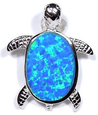 Blue Fire Opal Inlay Genuine 925 Sterling Silver Turtle Pendant For Necklace