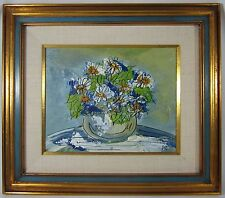 Vintage Mid Century Modern Daisies Impressionism Still Life Painting Signed PIC