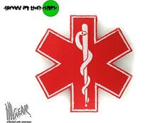 ill Gear STAR OF LIFE LARGE RED MEDIC MEDICAL PARAMEDIC VELCRO PATCH EMT RED