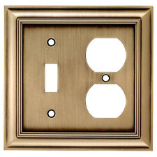 Allen + Roth 2-Gang Antique Brass Combination Metal Wall Plate Item #: 140798