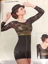 IN STOCK Black Velvet Gold Short Jumpsuit Jazz Modern Dance Costume Adult Small