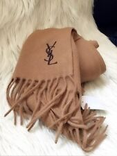 NEW Yves Saint Laurent 100% WOOL SCARF 12X65 MADE IN ITALY YSL CAMEL/COFFEE LOGO