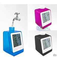 Eco Friendly Water Powered Thermometer Alarm Clock Digital LCD Screen Gift Best