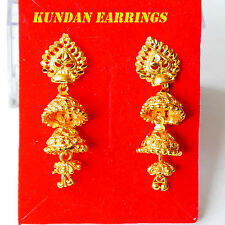 New Gold Plated Earring Indian Jhumka Drop Dangle Chandelier Bollywood Jewelry
