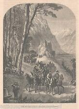 Antique print return hunt Styria Austria / holzstich Jagd Steiermark 1859