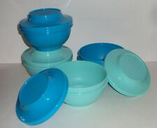 New TUPPERWARE Oriental Rice Bowls Stacking Bowl Set with Seals Blue Green