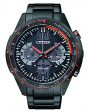 Citizen Eco-Drive Mens Black Stainless Steel Chronograph CA4125-56E
