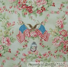 BonEful Fabric FQ Cotton Quilt Green Flower Toile Pink American Flag Colonial Sm