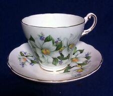 Regency England Bone China Teacup  Saucer Hand Painted Gold Inlay Floral Decor