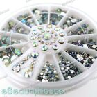 5 Sizes 800 pcs Nail Art Tips Crystal Glitter Rhinestone Decoration+Wheel #001J