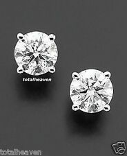 NEW 1/2 ct tw 4mm Solid 14K White Gold AAA D-Flawless CZ Stud Earrings SPARKLING