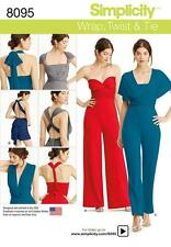 SIMPLICITY SEWING PATTERN MISSES' KNIT WRAP & TIE JUMPSUIT  SIZE XXS - XXL  8095