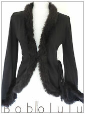 H&M BLACK FUR TRIM CARDIGAN JACKET VINTAGE VICTORIANA QUIRKY GOTHIC CHIC VAMP 12
