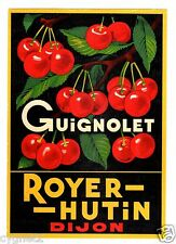 LABEL FRENCH GUIGNOLET CHERRIES LIQUEUR ROYER-HUTIN DIJON