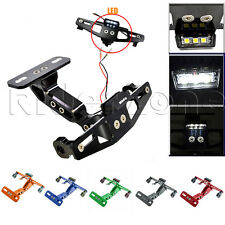 Motorcycle Adjustable Alloy License Number Plate Holder Bracket with LED Light