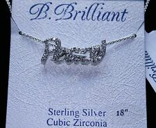 "B. Brilliant 18"" Cubic Zirconia Peace Pendant Necklace in Sterling Silver"