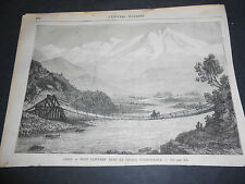 1870 ORIGINAL ANCIENT XYLOGRAPH CHILE BRIDGE ON VALLEY OF ACONCAGUA