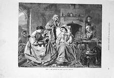 Stampa antica LA LETTURA DEL LIBRO in campagna 1869 Old print