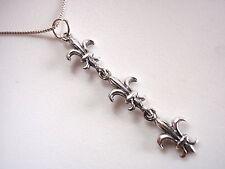 Triple Fleur de Lis Necklace 925 Sterling Silver Corona Sun Jewelry