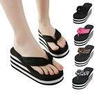 Lady Womens Beach High Wedge Platform Thong Flip Flop Slippers Sandal Shoes