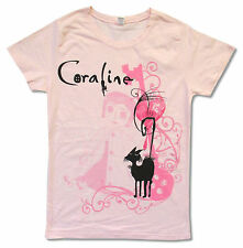 "CORALINE ""BLACK CAT"" PINK BABY DOLL T-SHIRT NEW OFFICIAL JUNIORS XL"