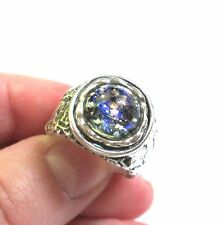 OR PAZ .925 Sterling Silver Midnight Blue Foil Glass Textured Ring Size 7.5 - 8
