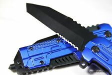 "8.5"" COBALT BLUE ASSISTED KNIFE STAINLESS STEEL SERRATED TANTO BLADE GLASS BREAK"