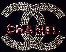 VTG 80s 90s Chanel Crystal Studded CC Logo Embellished Top Tee Shirt Size S